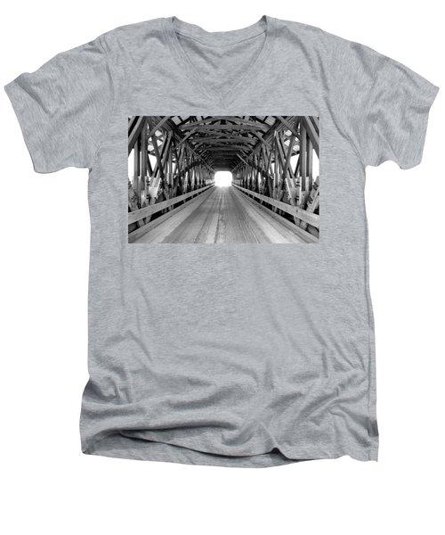 Henniker Covered Bridge Men's V-Neck T-Shirt by Greg Fortier
