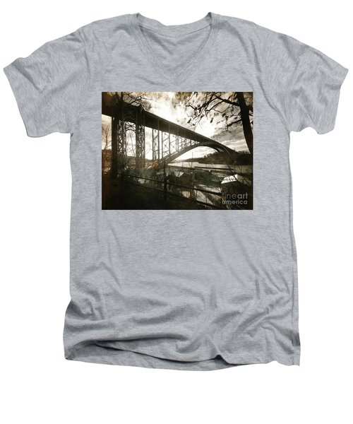 Men's V-Neck T-Shirt featuring the photograph Henry Hudson Bridge, 1936 by Cole Thompson