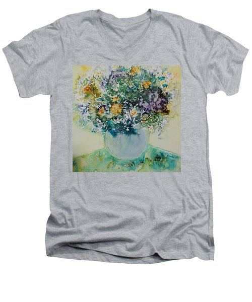 Men's V-Neck T-Shirt featuring the painting Herbal Bouquet by Joanne Smoley