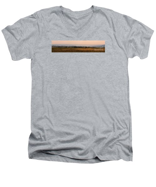 Herd Of Bison Grazing Panorama Men's V-Neck T-Shirt