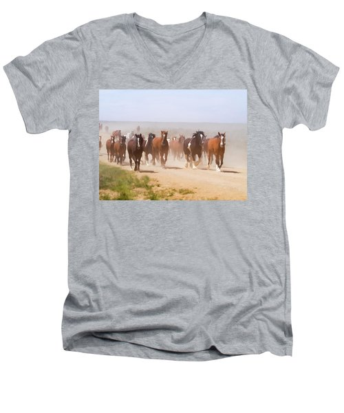 Herd Of Horses During The Great American Horse Drive On A Dusty Road Men's V-Neck T-Shirt