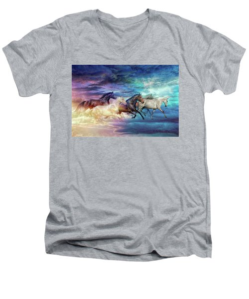 Herd Of Horses In Pastel Men's V-Neck T-Shirt