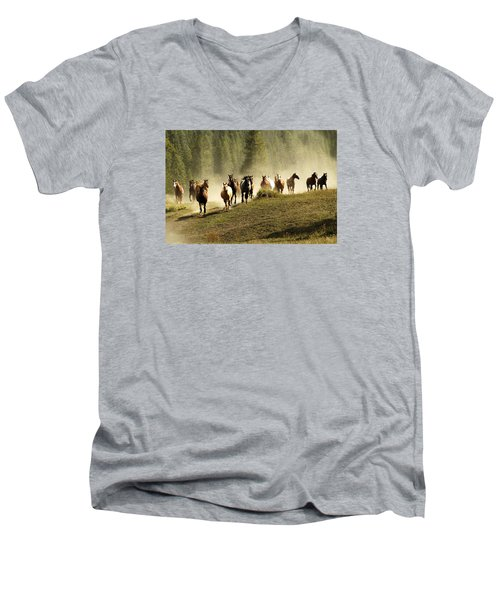 Herd Of Wild Horses Men's V-Neck T-Shirt