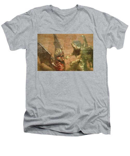 ....here There Be Dragons Men's V-Neck T-Shirt by Martina Fagan