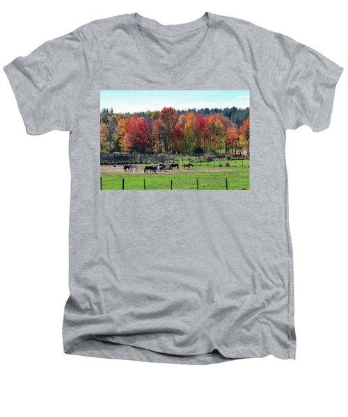 Heritage Farm In Easthampton, Ma Men's V-Neck T-Shirt