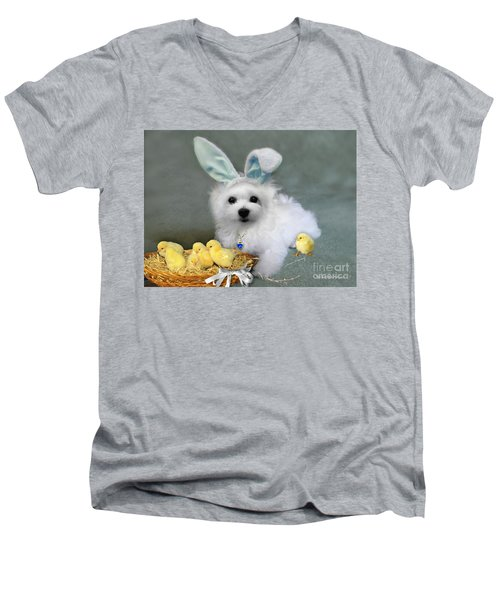 Hermes At Easter Men's V-Neck T-Shirt by Morag Bates