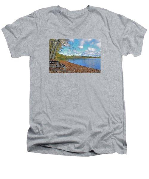 Fall Picnic In Maine Men's V-Neck T-Shirt by Glenn Gordon