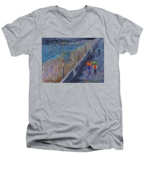 Men's V-Neck T-Shirt featuring the painting Hermosa Beach Rain by Jamie Frier