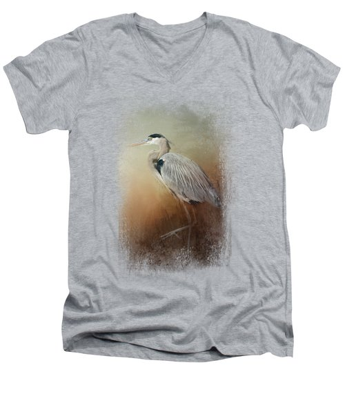 Heron At The Inlet Men's V-Neck T-Shirt by Jai Johnson