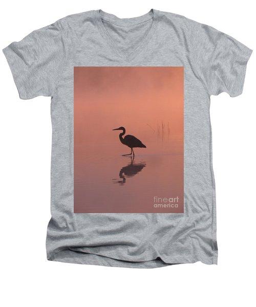 Heron Collection 1 Men's V-Neck T-Shirt by Melissa Stoudt