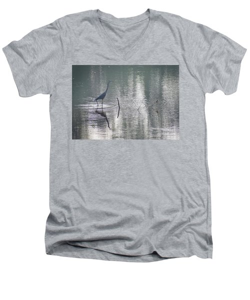 Men's V-Neck T-Shirt featuring the photograph Heron In Pastel Waters by Skip Willits