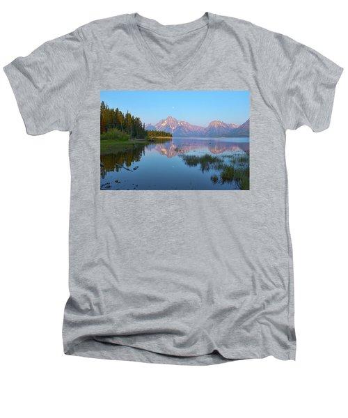 Heron On Jackson Lake Men's V-Neck T-Shirt by Hugh Smith