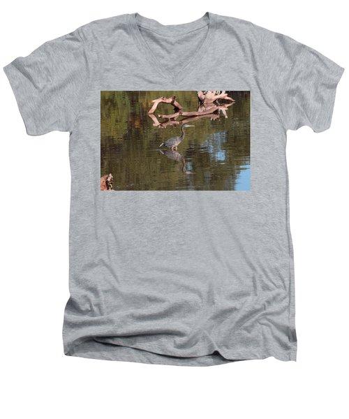 Heron Reflection Men's V-Neck T-Shirt