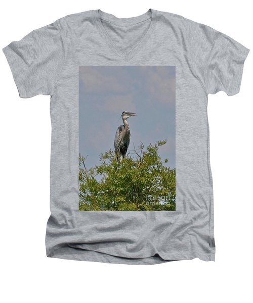Heron Sitting In Tree Men's V-Neck T-Shirt by Carol  Bradley