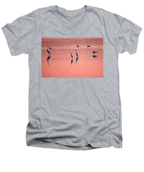 Herons At Sunrise Men's V-Neck T-Shirt
