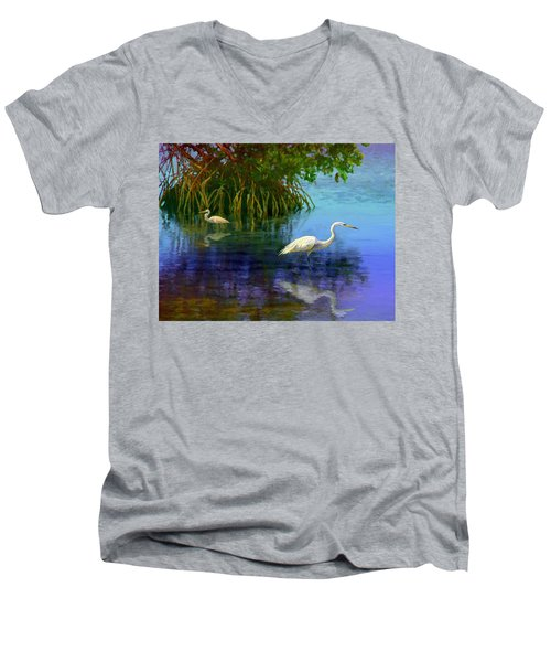 Herons In Mangroves Men's V-Neck T-Shirt