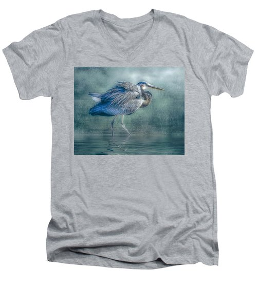 Heron's Pool Men's V-Neck T-Shirt by Brian Tarr