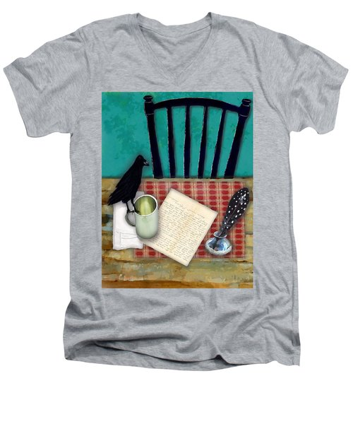 Men's V-Neck T-Shirt featuring the digital art He's Gone by Lisa Noneman