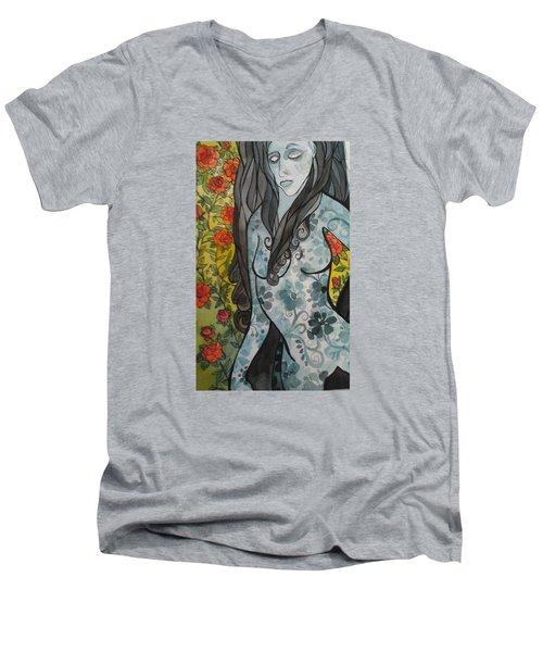 Hesitation Men's V-Neck T-Shirt by Claudia Cole Meek