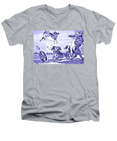 Hey Diddle Diddle The Cat And The Fiddle Nursery Rhyme Men's V-Neck T-Shirt