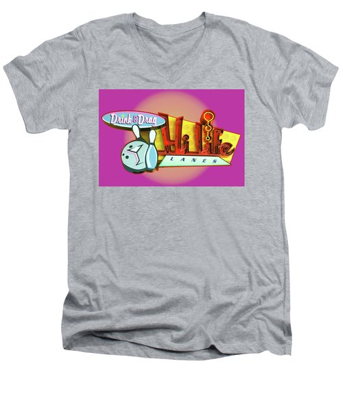 Men's V-Neck T-Shirt featuring the photograph Hi Life Drink And Drag by Jeff Burgess