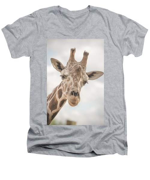 Hi There, I'm A Giraffe Men's V-Neck T-Shirt by David Collins