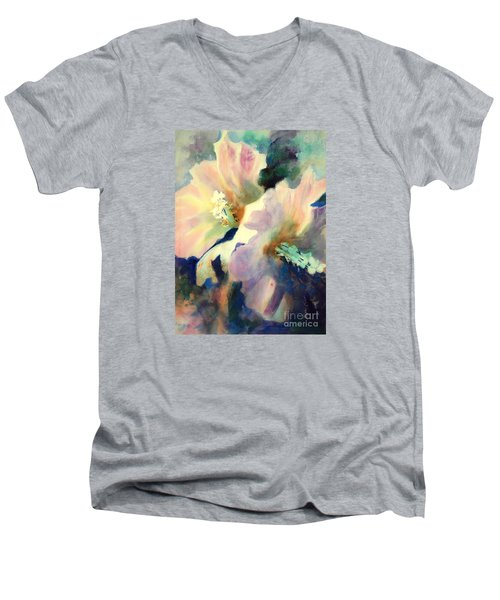 Men's V-Neck T-Shirt featuring the painting Hibicus Up Close by Kathy Braud