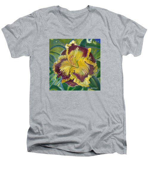 Men's V-Neck T-Shirt featuring the painting Hibiscus 2 by John Keaton