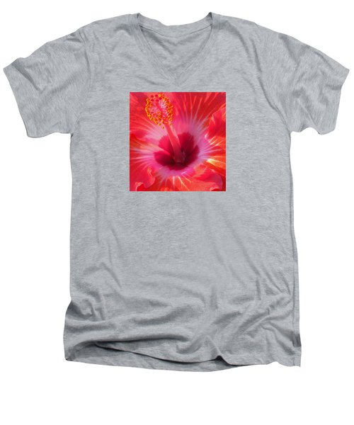 Hibiscus - Coral And Pink Square Men's V-Neck T-Shirt by Kerri Ligatich