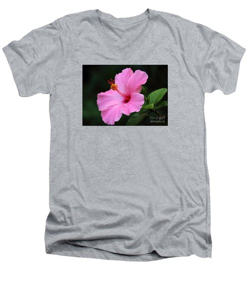 Men's V-Neck T-Shirt featuring the photograph Hibiscus In Pink by Lisa L Silva