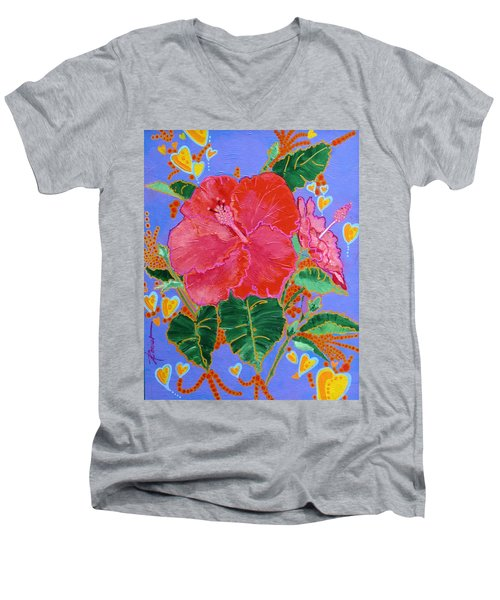 Hibiscus Motif Men's V-Neck T-Shirt