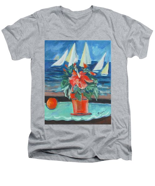 Hibiscus With An Orange And Sails For Breakfast Men's V-Neck T-Shirt