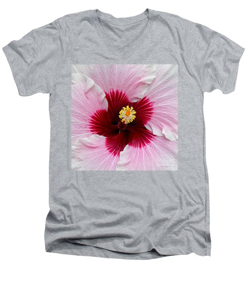 Hibiscus With Cherry-red Center Men's V-Neck T-Shirt by Susan Wiedmann