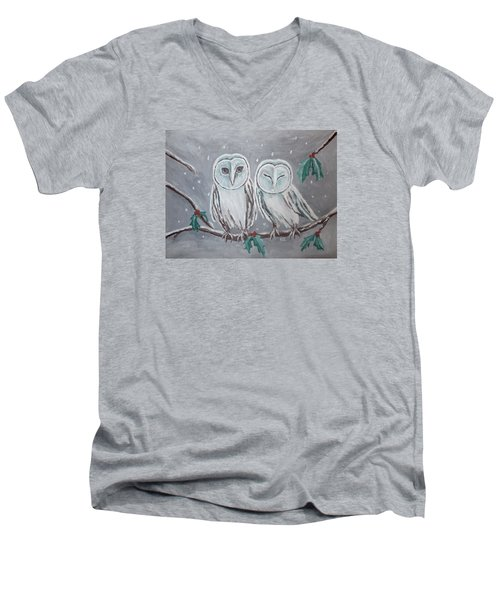 Men's V-Neck T-Shirt featuring the painting Hiboux En Hiver by Victoria Lakes