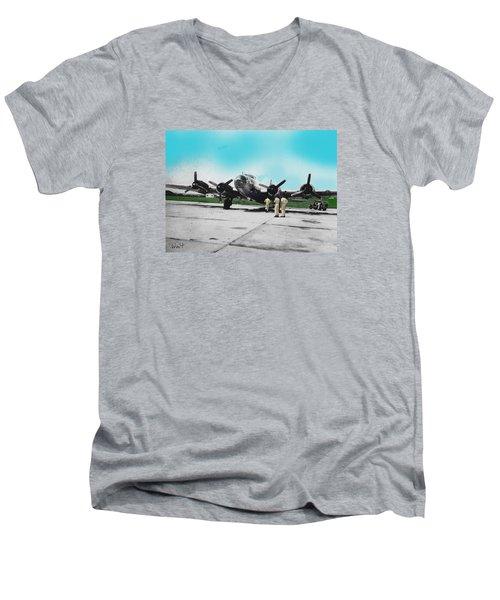 Men's V-Neck T-Shirt featuring the digital art Hickam Fort by Walter Chamberlain