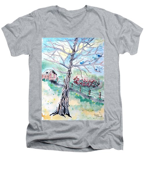 Men's V-Neck T-Shirt featuring the painting Hickory by Denise Tomasura