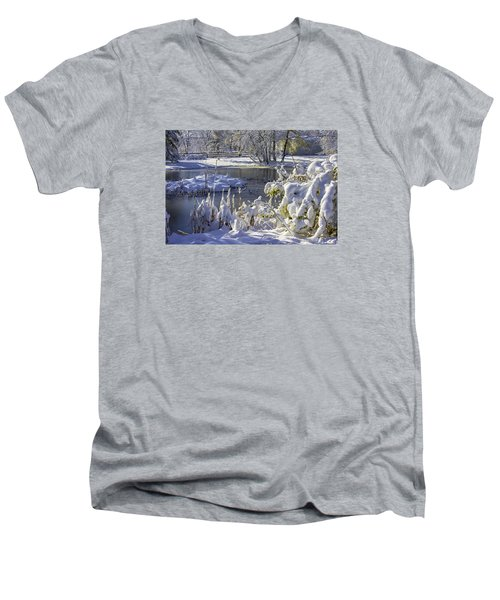 Hickory Nut Grove Landscape Men's V-Neck T-Shirt by Raymond Kunst