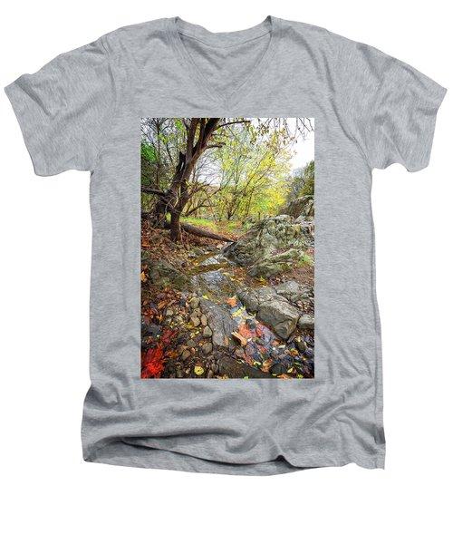 Men's V-Neck T-Shirt featuring the photograph Hidden Fall Stream by Alan Raasch