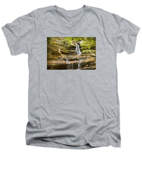 Men's V-Neck T-Shirt featuring the photograph Hidden Falls-hanging Rock State Park by Bob Decker