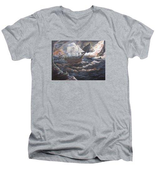 Hidden Skull Cove Men's V-Neck T-Shirt by Kevin F Heuman