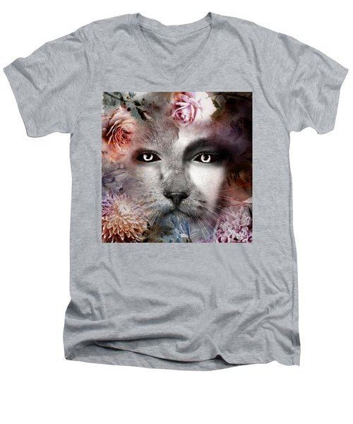 Hiding Catlady Men's V-Neck T-Shirt