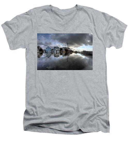 Higbee Flooding Men's V-Neck T-Shirt by John Loreaux