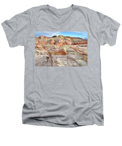 High Above Valley Of Fire Men's V-Neck T-Shirt by Ray Mathis