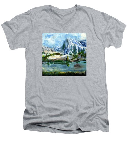 High Lake First Snow Men's V-Neck T-Shirt by Randy Sprout
