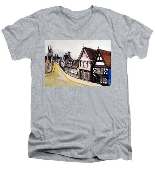 High Street Of Stamford In England Men's V-Neck T-Shirt by Dora Hathazi Mendes
