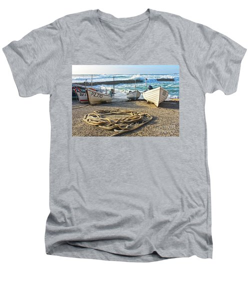 Men's V-Neck T-Shirt featuring the photograph High Tide In Sennen Cove Cornwall by Terri Waters