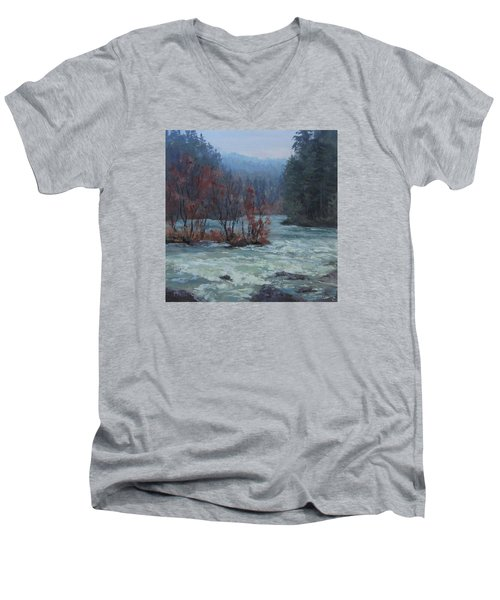 Men's V-Neck T-Shirt featuring the painting High Water by Karen Ilari