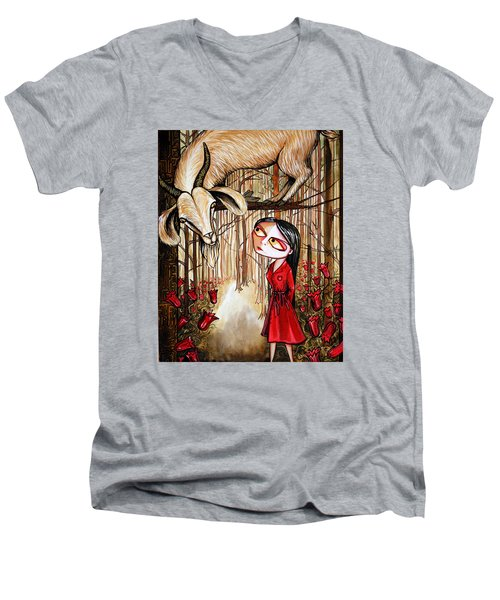 Men's V-Neck T-Shirt featuring the painting Higher Ground by Leanne WILKES