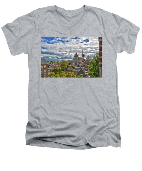 Highland Church Seen From Leiden Castle Men's V-Neck T-Shirt