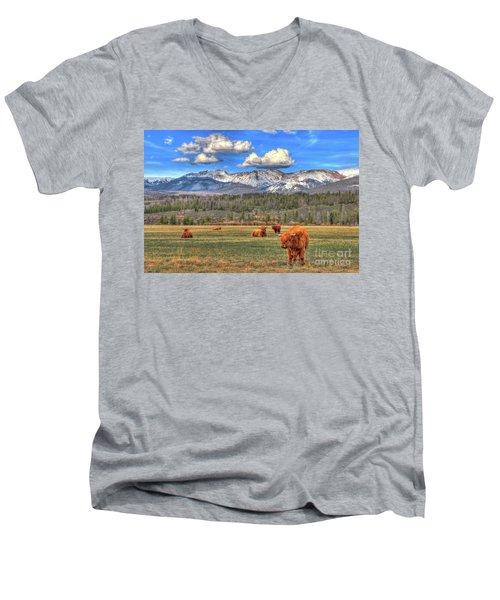 Highland Colorado Men's V-Neck T-Shirt by Scott Mahon